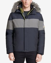 Vry Wrm Men's Snokat Polar Oxford Hooded Coat Winter Navy
