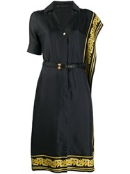 Versace Greek Key Trimmed Dress Black