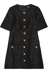 Dolce And Gabbana Button Embellished Jacquard Mini Dress Black
