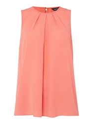 Ellen Tracy Sleeveless Pleat Front Blouse Coral