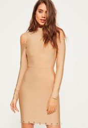 Missguided Camel Bandage Cold Shoulder Ring Detail Bodycon Dress