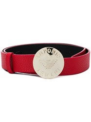 Emporio Armani Logo Engraved Buckle Belt Red