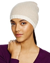 C By Bloomingdale's Cashmere Birdseye Slouch Hat Ivory Oatmeal Ivory Trim