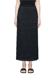Stella Mccartney 'Annika' Tiered Fringe Silk Maxi Skirt Black