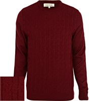 River Island Mensdark Red Cable Knit Sweater