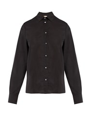 Brock Collection Baylee Point Collar Cotton Voile Shirt Black