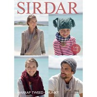 Sirdar Harrap Tweed Chunky Adult And Children's Hat And Scarf Knitting Paper Pattern 7852