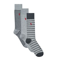 Polo Ralph Lauren Striped Pony Socks 3 Pack Male Grey