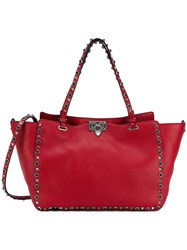 Valentino 'Rockstud Rolling' Trapeze Tote Red