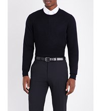 Armani Collezioni Crewneck Knitted Cotton Jumper Navy