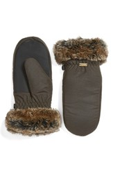 Barbour Women's Waxed Cotton Mittens With Faux Fur Trim