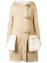Golden Goose Deluxe Brand Hooded Shearling Coat Nude And Neutrals
