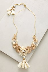 Anthropologie Raffia Palm Necklace Neutral