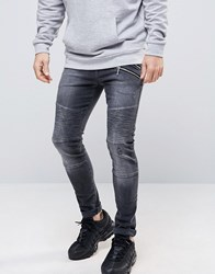 Asos Super Skinny Jeans With Double Zip And Biker Details In Washed Black Washed Black