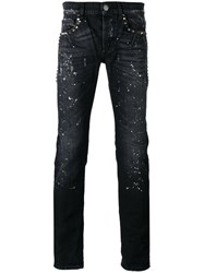 Les Hommes Paint Splash Jeans Men Cotton 32 Black