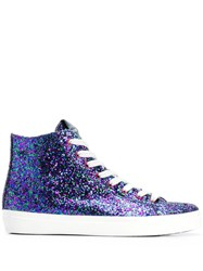 Leather Crown Glitter Hi Top Sneakers 60