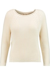 J Brand Reese Open Knit Cotton Blend Sweater White