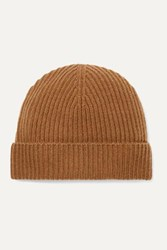 Johnstons Of Elgin Ribbed Cashmere Beanie Brown