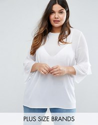 Alice And You Fluted Sleeve Top White