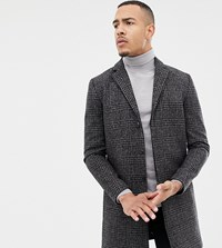 Selected Homme Recycled Wool Overcoat With Grey Black Check Grey Black Check