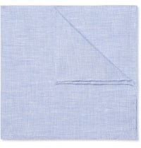 Anderson And Sheppard Puppytooth Linen Pocket Square Blue