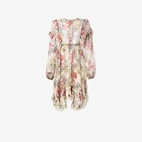 Philosophy Di Lorenzo Serafini Floral Print Long Sleeve Ruffle Dress Nude And Neutrals