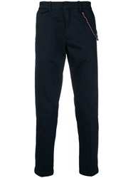 Closed Rope Trim Trousers Blue