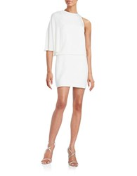 Halston Asymmetrical Silk Blend Shift Dress Chalk
