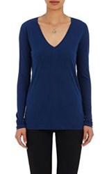 Barneys New York V Neck Long Sleeve T Shirt Blue