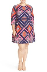 Vince Camuto Plus Size Women's Print Three Quarter Sleeve Fit And Flare Dress Navy
