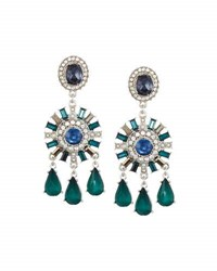 Lydell Nyc Mixed Crystal And Simulated Pearl Chandelier Earrings Green