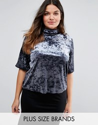 Pink Clove High Neck Velvet Top Blue