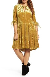 Elvi Plus Size Women's Drop Waist Crushed Velvet Dress Mustard