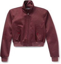 Balenciaga Slim Fit Cropped Cotton Blend Twill Harrington Jacket Burgundy