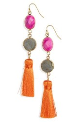 Panacea Women's Drusy Tassel Earrings Pink Grey Multi