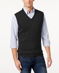 Club Room Cashmere Solid Sweater Vest Deep Black