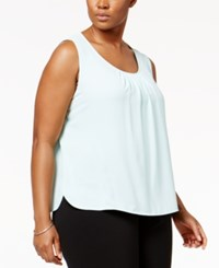 Anne Klein Plus Size Pleated Tank Top Clear Water