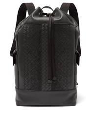 Bottega Veneta Intrecciato Leather Backpack Black Grey