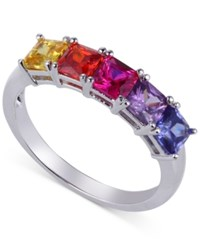 Giani Bernini Multi Color Cubic Zirconia Five Stone Ring In Sterling Silver Only At Macy's