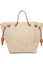 Loewe Flamenco Medium Leather Trimmed Embroidered Linen Tote Neutral