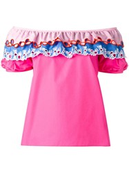 Peter Pilotto Embroidered Off The Shoulder Top Pink Purple