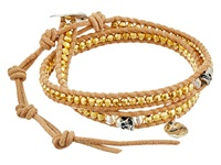 Chan Luu 12 1 2' Yellow Gold Beige Double Wrap Skull Charm Bracelet Yellow Gold Beige Charms Bracelet