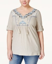 Styleandco. Style And Co. Plus Size Embroidered Peasant Tunic Only At Macy's Clutch Ember Stone