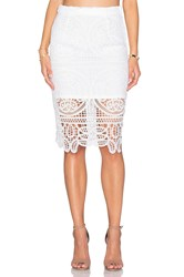 J.O.A. Lace Midi Skirt White