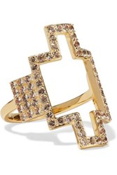Elizabeth And James Kota Gold Tone Crystal Ring Gold