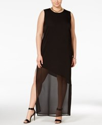 Junarose Plus Size Asymmetrical Illusion Maxi Dress Black