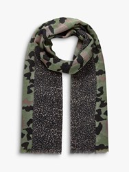 Brora Camo And Leopard Wool Stole Scarf Olive And Peat