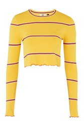 Topshop Margot Long Sleeve Crop Top By Unique Yellow