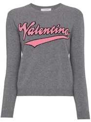 Valentino Cashmere Crew Neck Jumper With Knitted Logo Virgin Wool Cashmere Grey