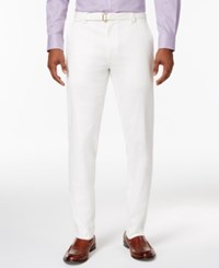 Sean John Men's Big And Tall Belted Patchwork Linen Pants White